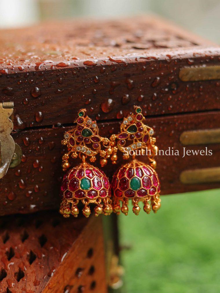 Gorgeous Peacock Kemp Stone Design Jhumkas