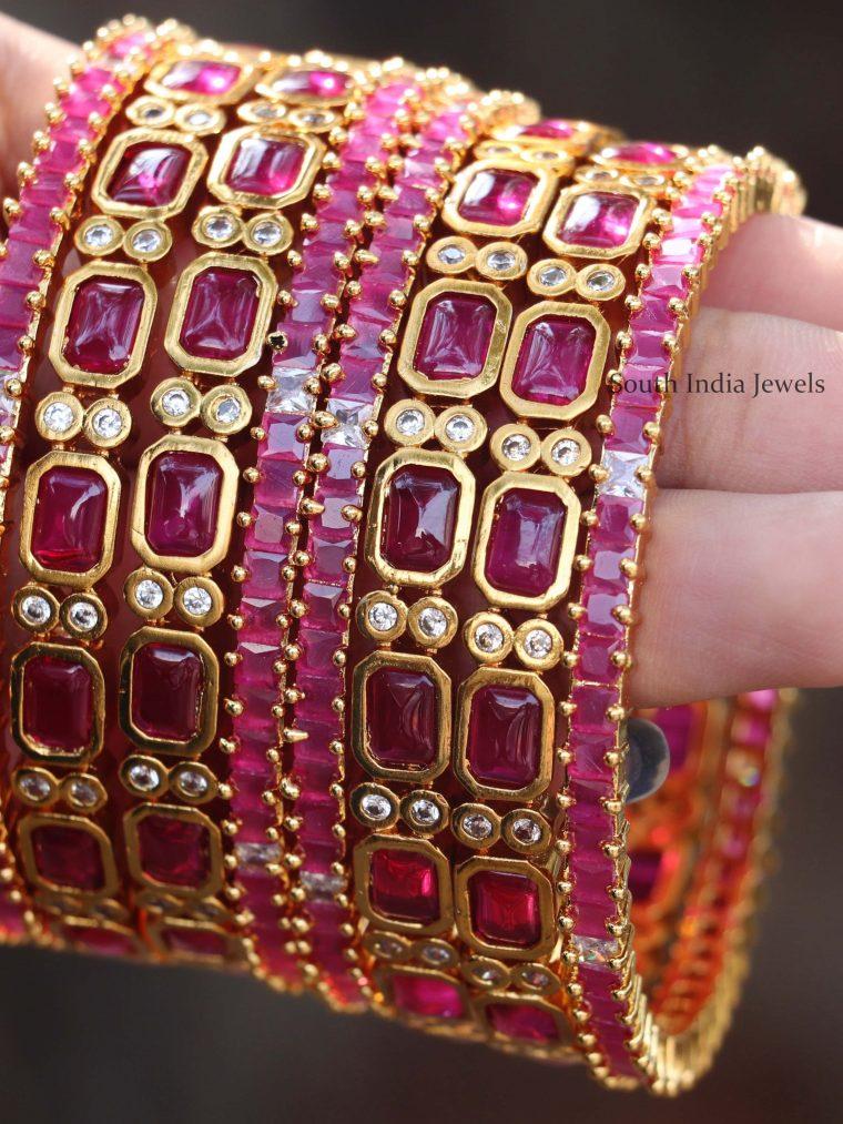 Gorgeous Ruby Stone Bangle Set