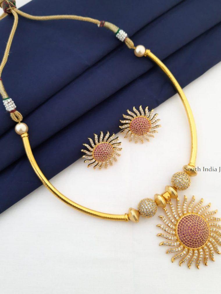 Gorgeous Sun Design Pendant Necklace Set