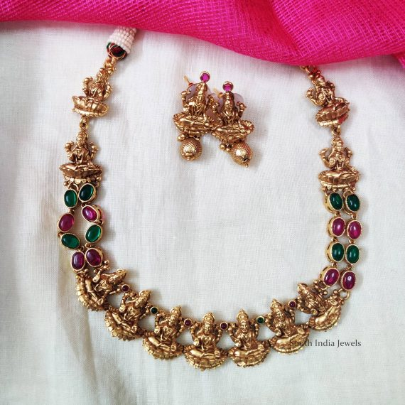 Lakshmi Motif Multi Stone Necklace