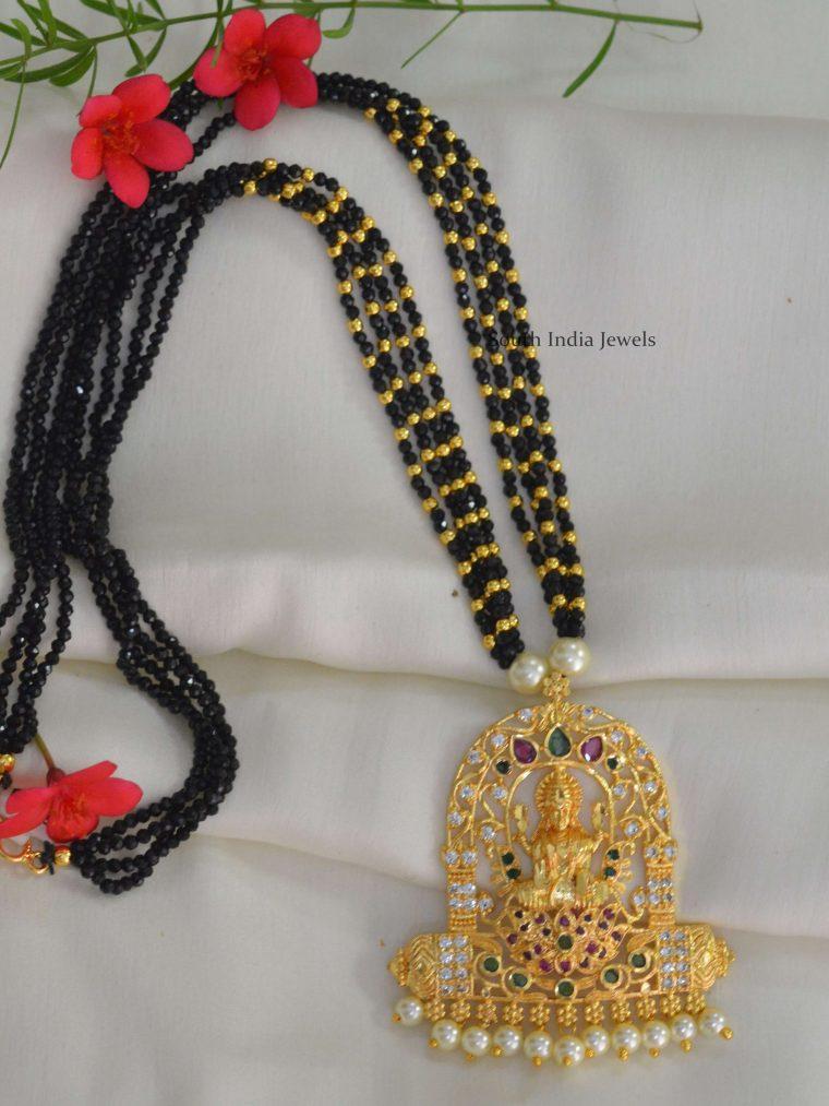 Lakshmi Pendant Black Crystal Mala