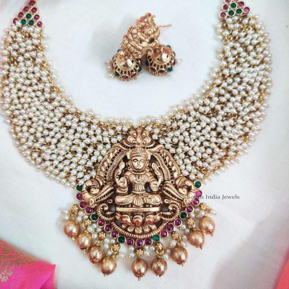 Lakshmi Pendant Guttapusalu Necklace (2)