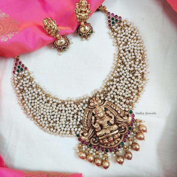 Lakshmi Pendant Guttapusalu Necklace