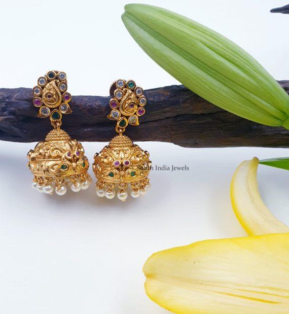 Mango Design Multi Stone Jhumkas
