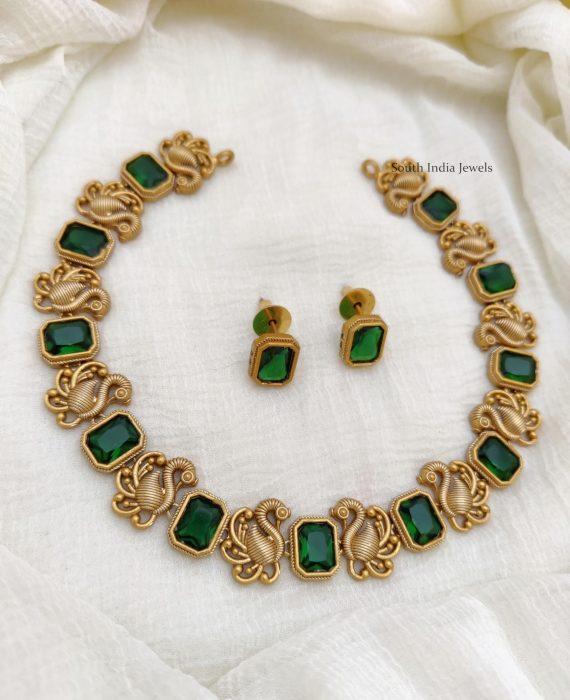 Matte Finish Peacock Design Necklace (7)