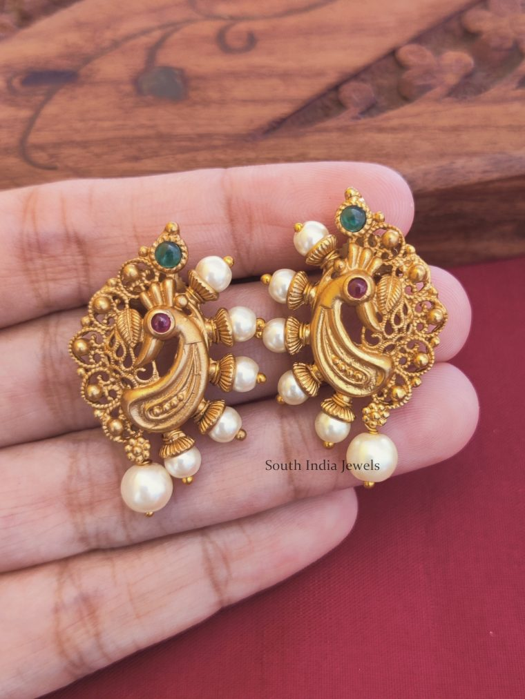 Matte Finish Peacock Design Stud Earrings (2)
