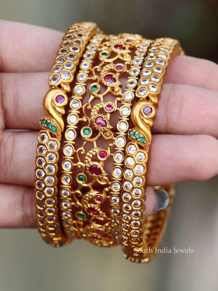 Peacock Design Gold Finish Bangle Set (2)