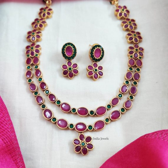 Pink & Green Layered Floral Necklace (2)