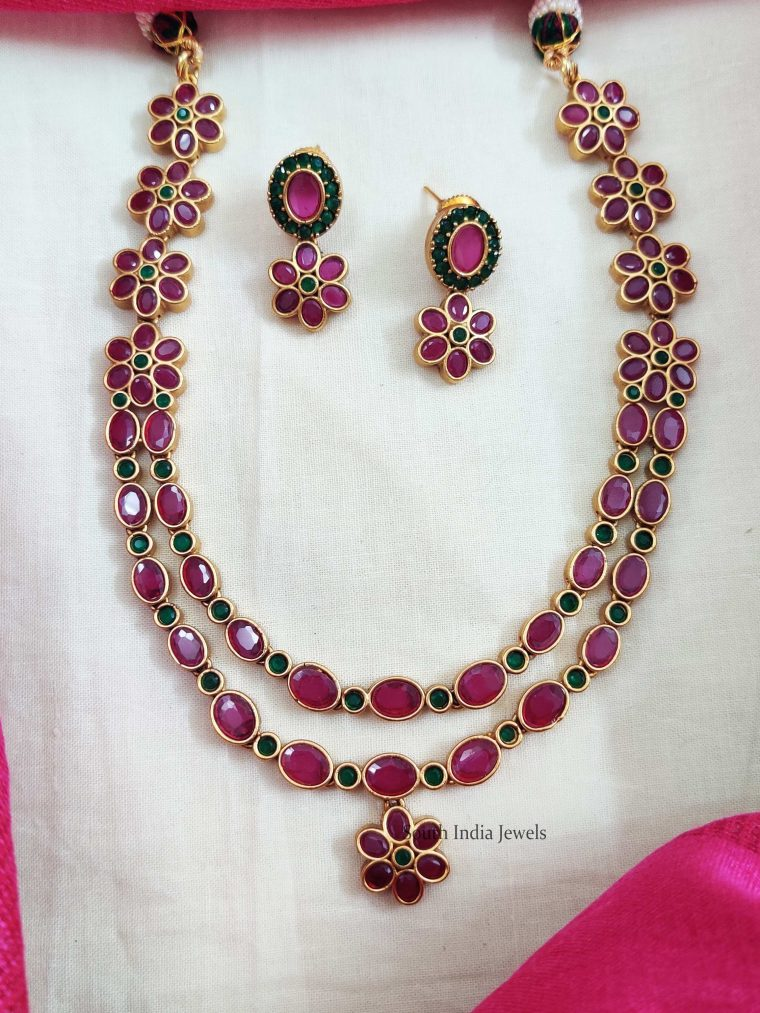 Pink & Green Layered Floral Necklace