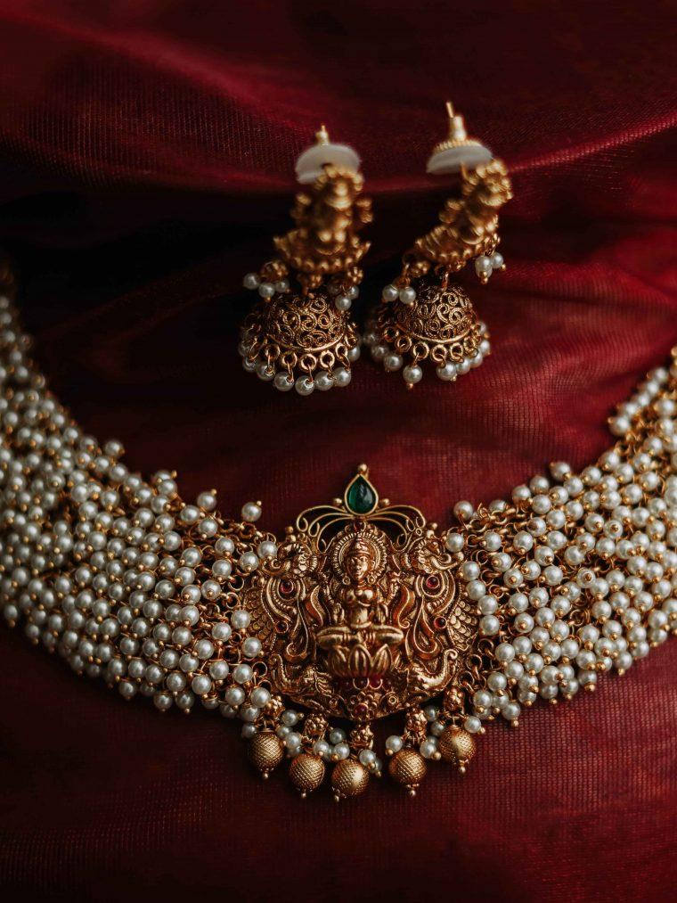 Precious Lakshmi Design Pearl Necklace