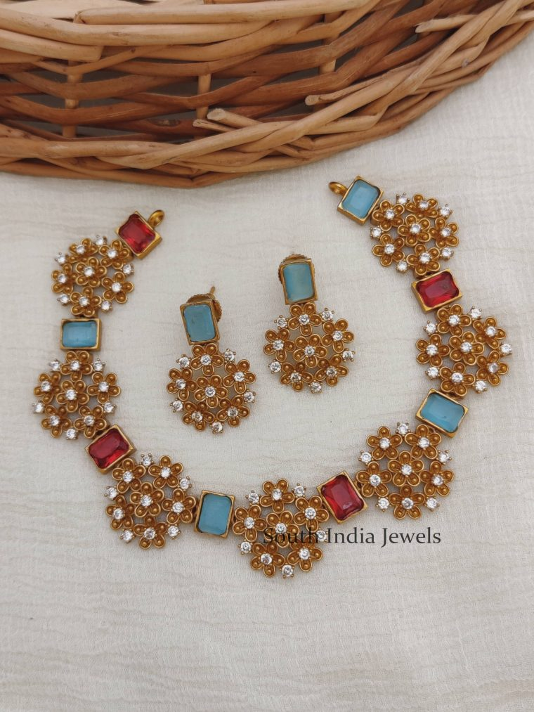 Ruby & Blue Stone Floral Necklace