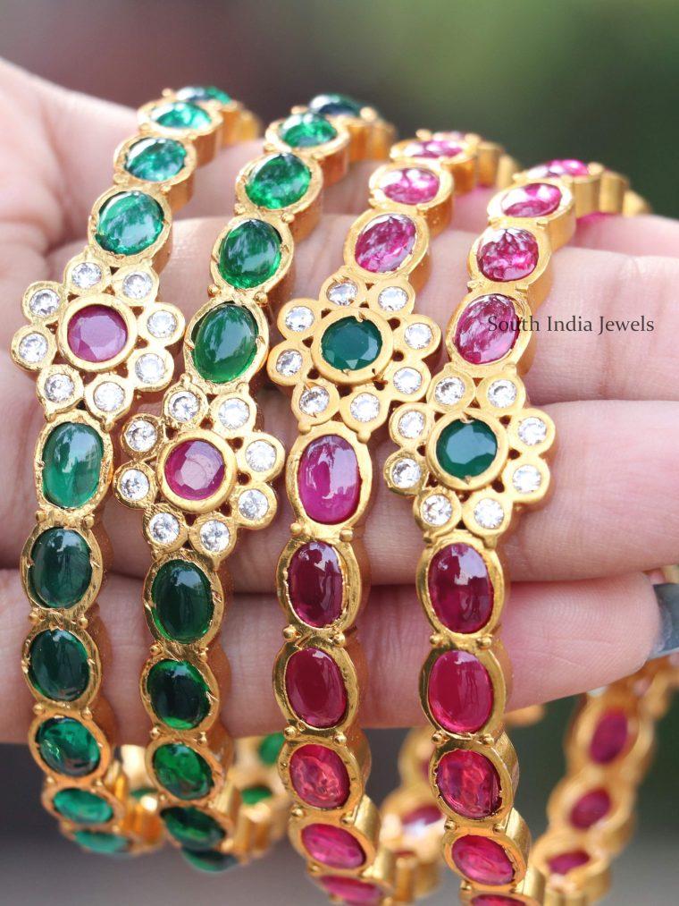 Ruby & Green Stones Bangles (3)
