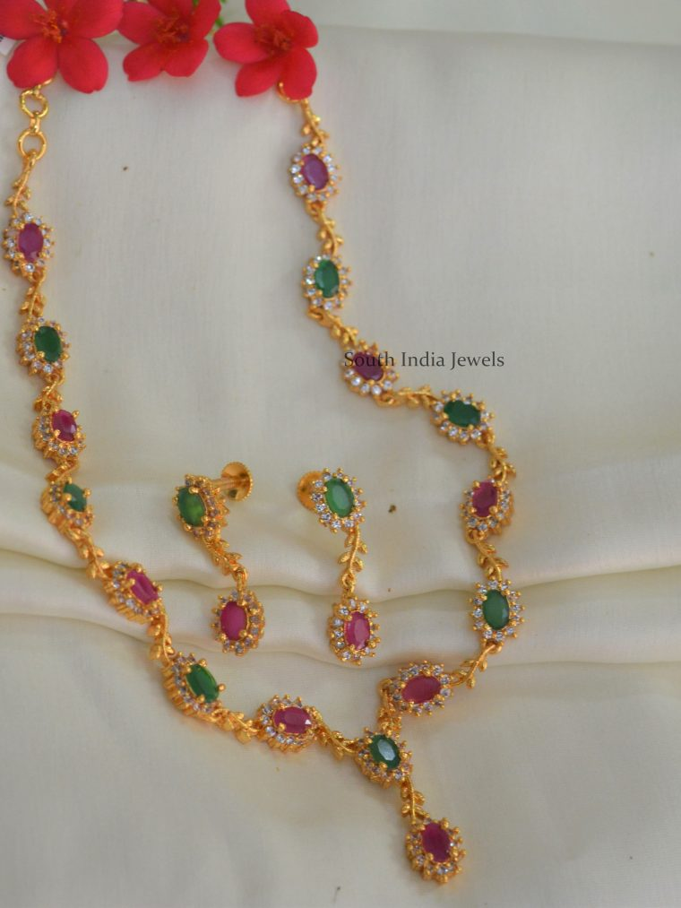 Stunning-Ruby-Emerald-Necklace-with-Earrings