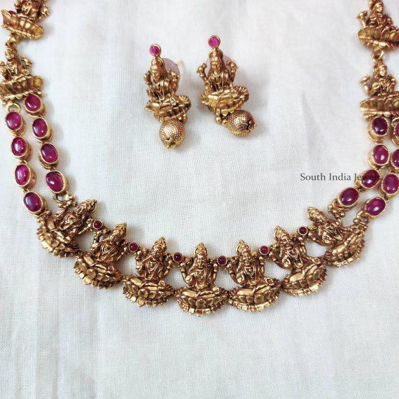 Temple Lakshmi Motif Pink Stone Necklace (2)