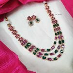 Three Layer Multi Stone Floral Necklace