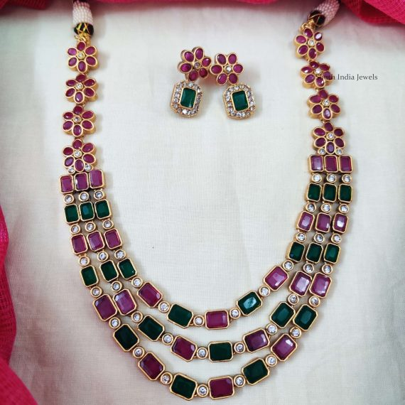 Three Layer Multi Stone Floral Necklace (2)