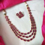 Three Layer Pink Square Stone Floral Necklace