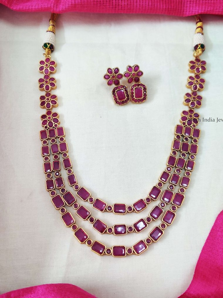 Three Layer Pink Square Stone Floral Necklace (2)