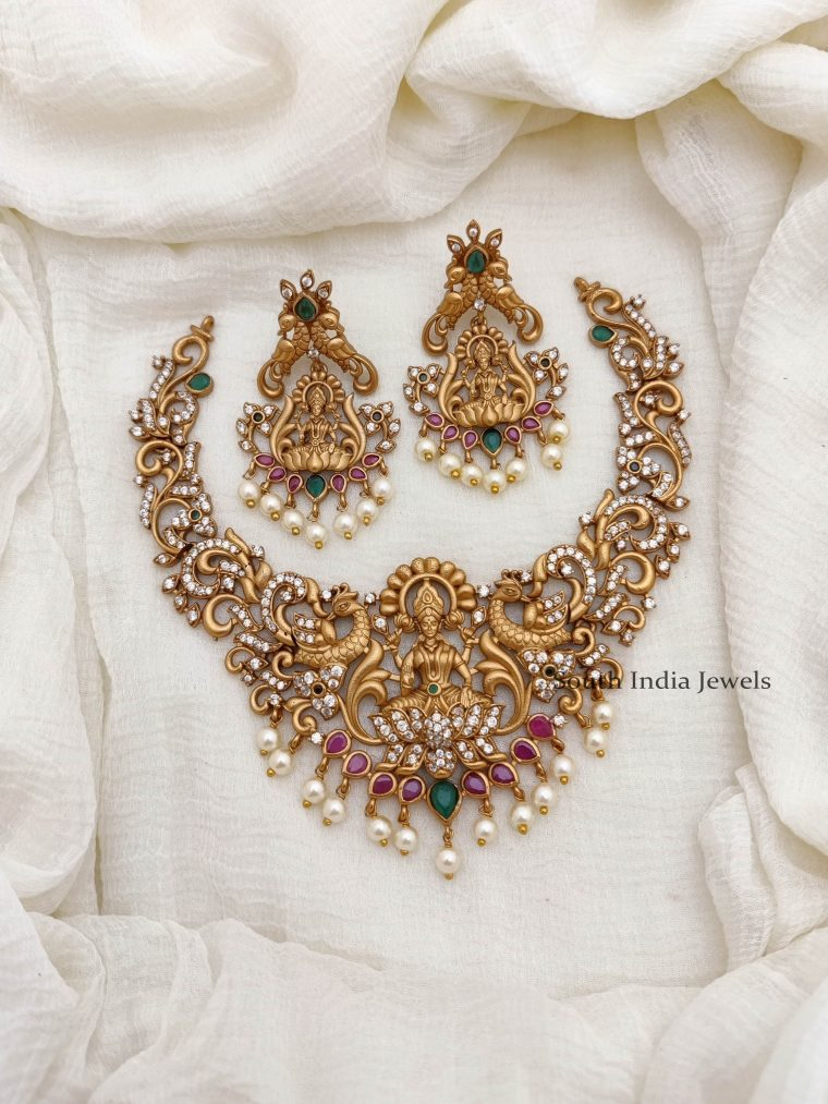 Traditional Lakshmi Design Peacock Necklace