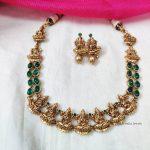 Traditional Lakshmi Motif Green Necklace (2)