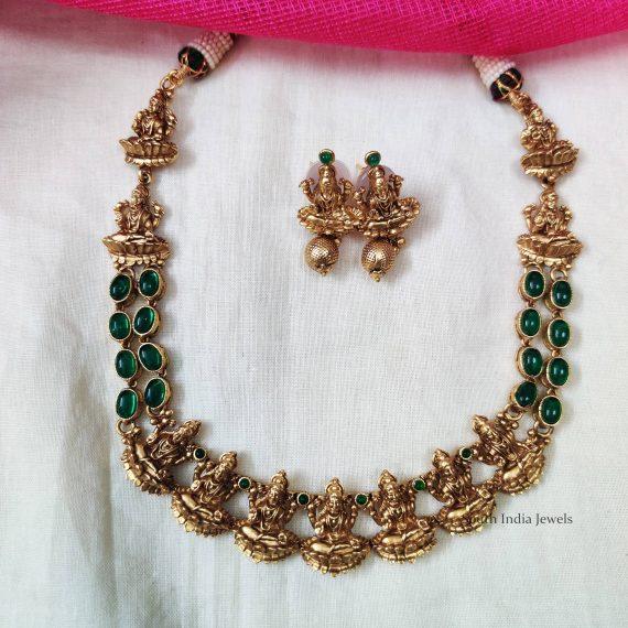 Traditional Lakshmi Motif Green Necklace