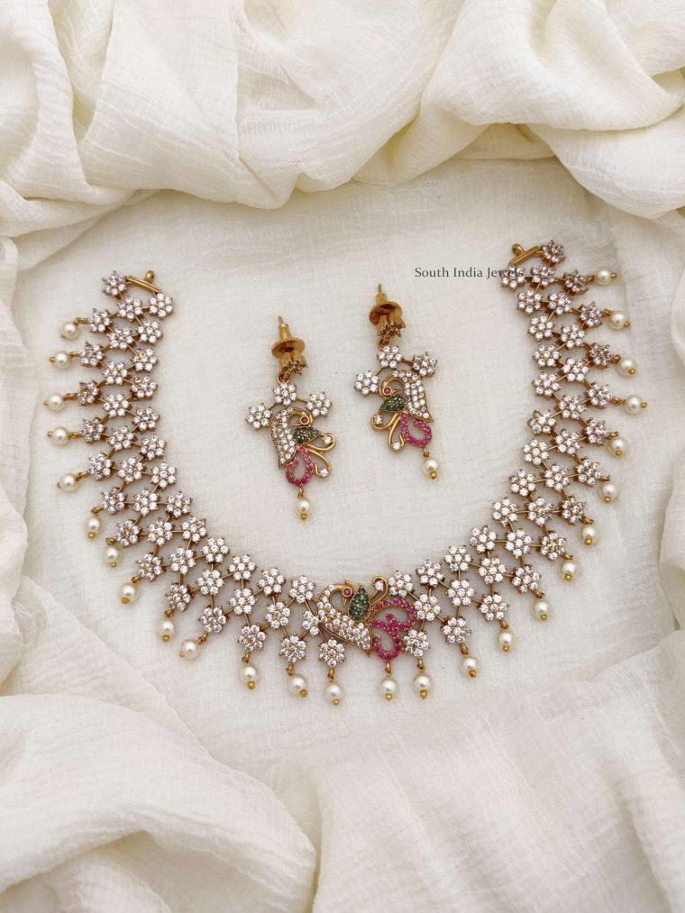 Trendy Diamond Alike AD Necklace (2)
