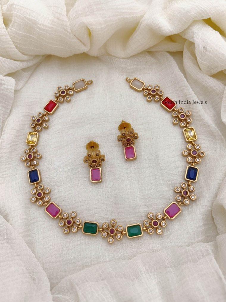 Trendy Flower Design AD Stone Necklace