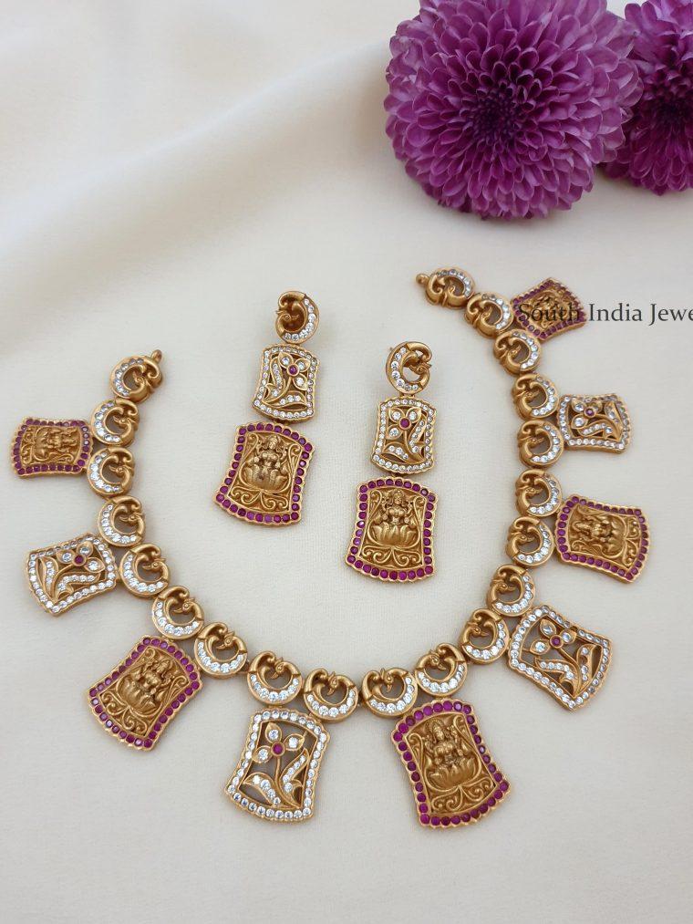 Trendy Matte Finish Lakshmi Necklace Set