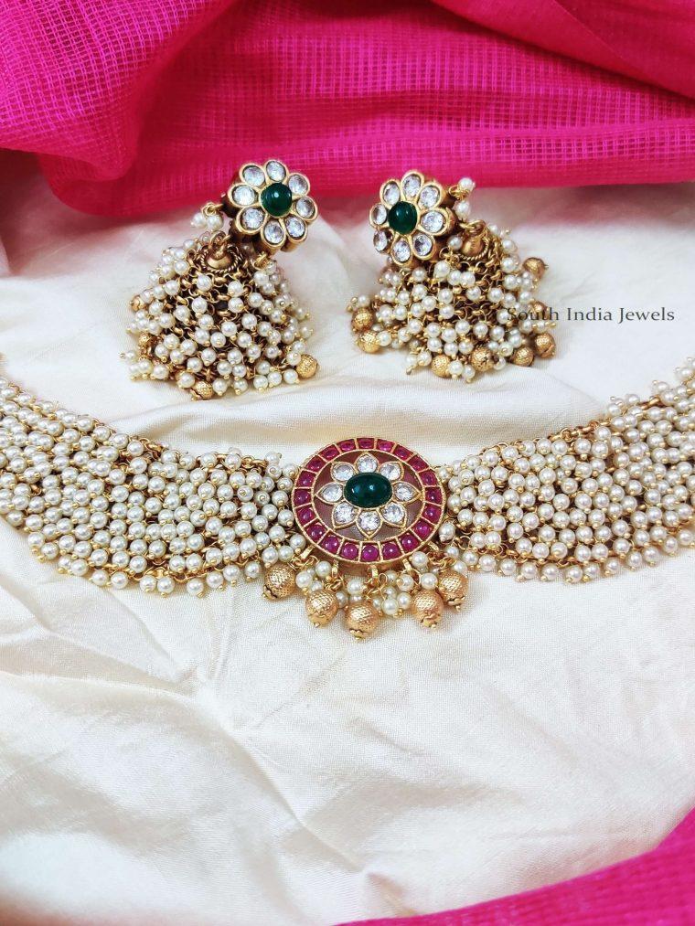 Trendy Multi Stone & Pearl Choker