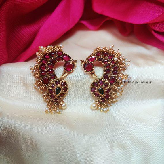Trendy Peacock Design Earrings