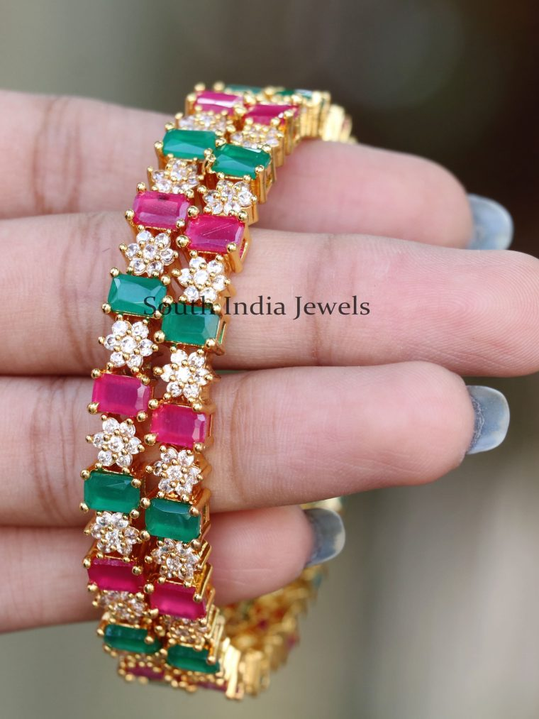 Trendy-Red-and-Green-Stone-Bangles