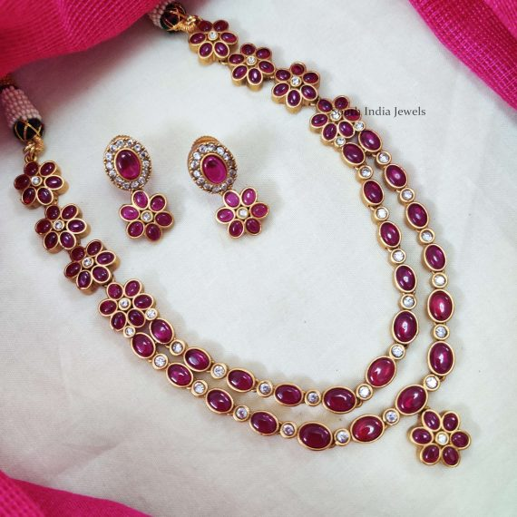 Two Layer Oval Stone Floral Necklace (2)