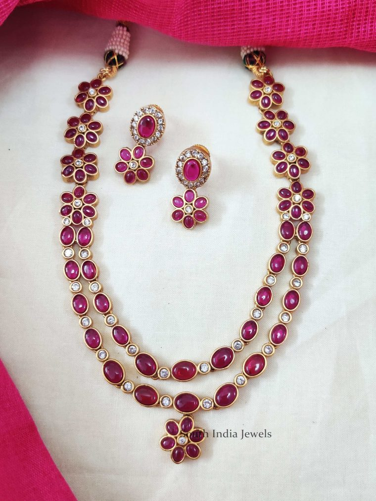 Two Layer Oval Stone Floral Necklace
