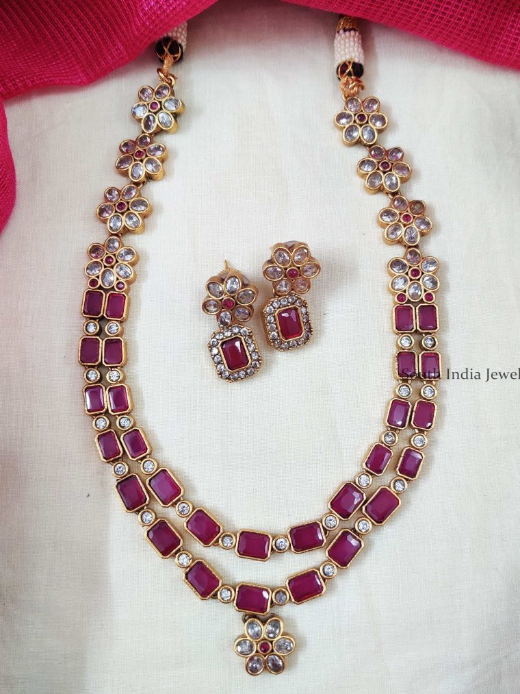 Two Layer Square Stone Floral Necklace