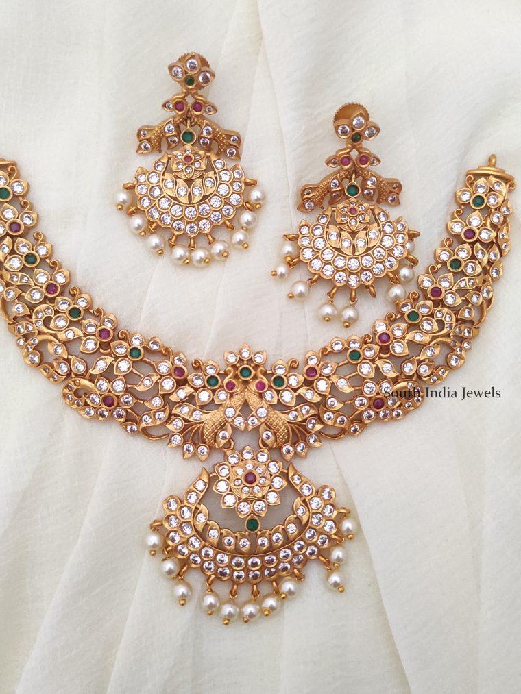 matte finish cz stone necklace-01