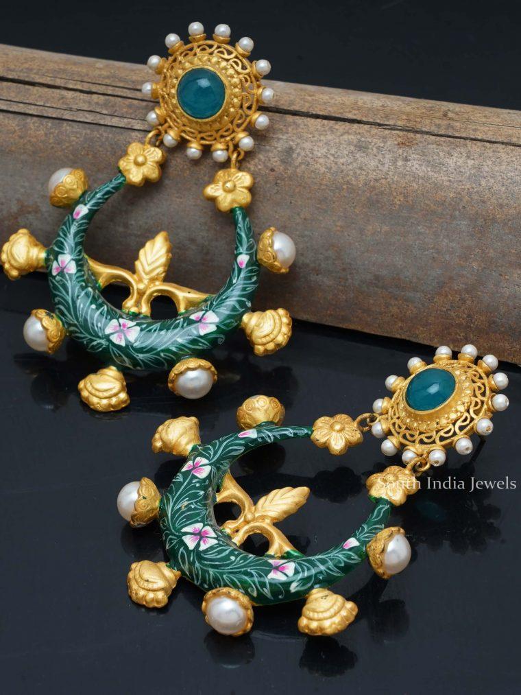Amazing Green Enamel Earrings