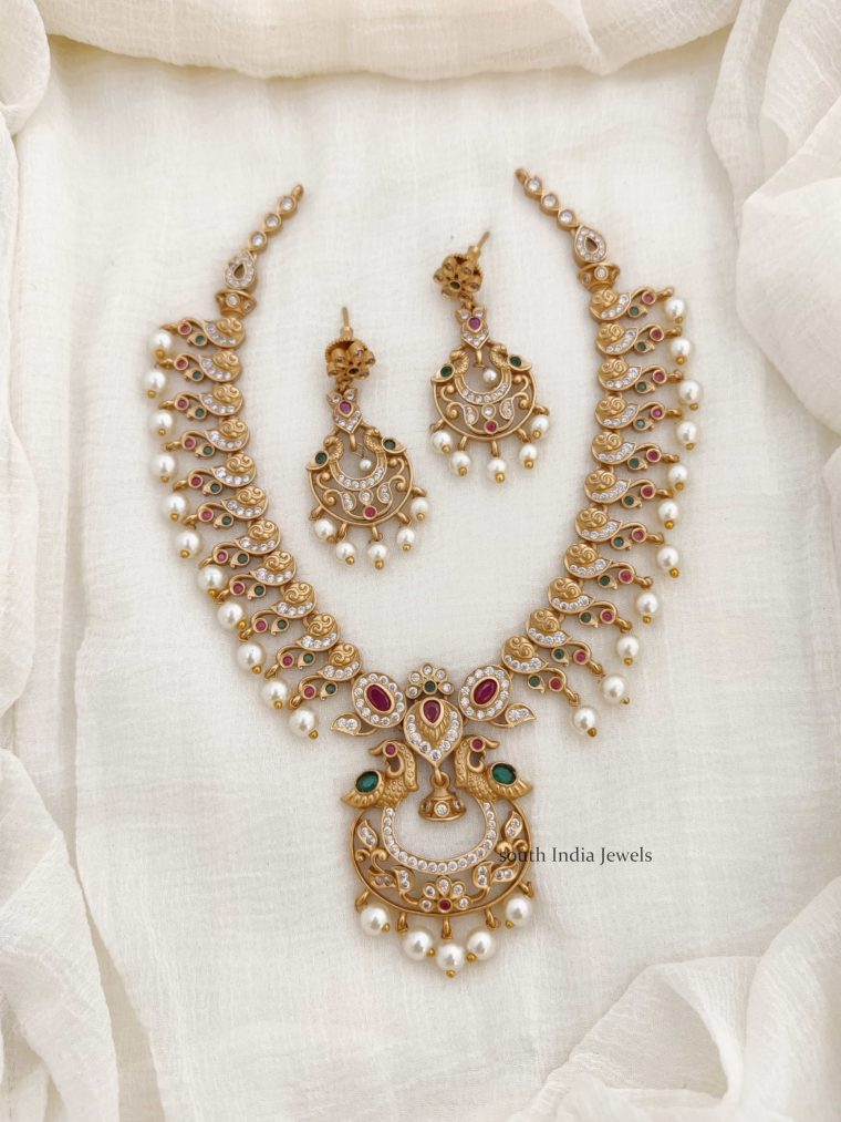 Beautiful AD Peacock Necklace