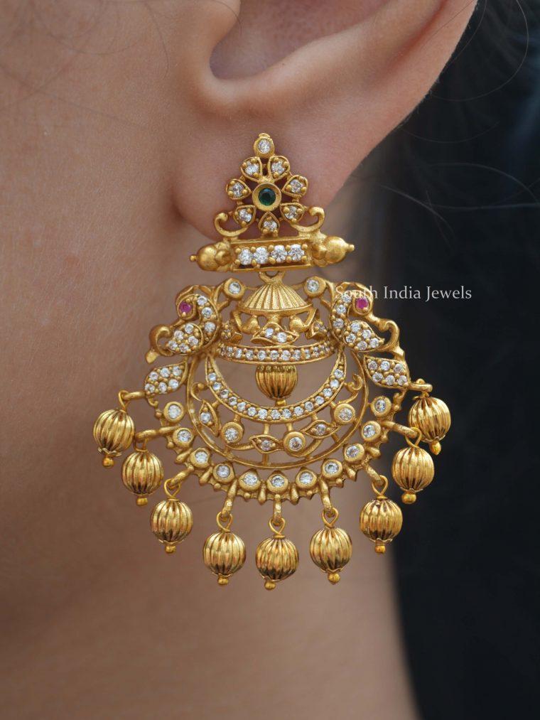 Beautiful Gold Drops Peacock Earrings