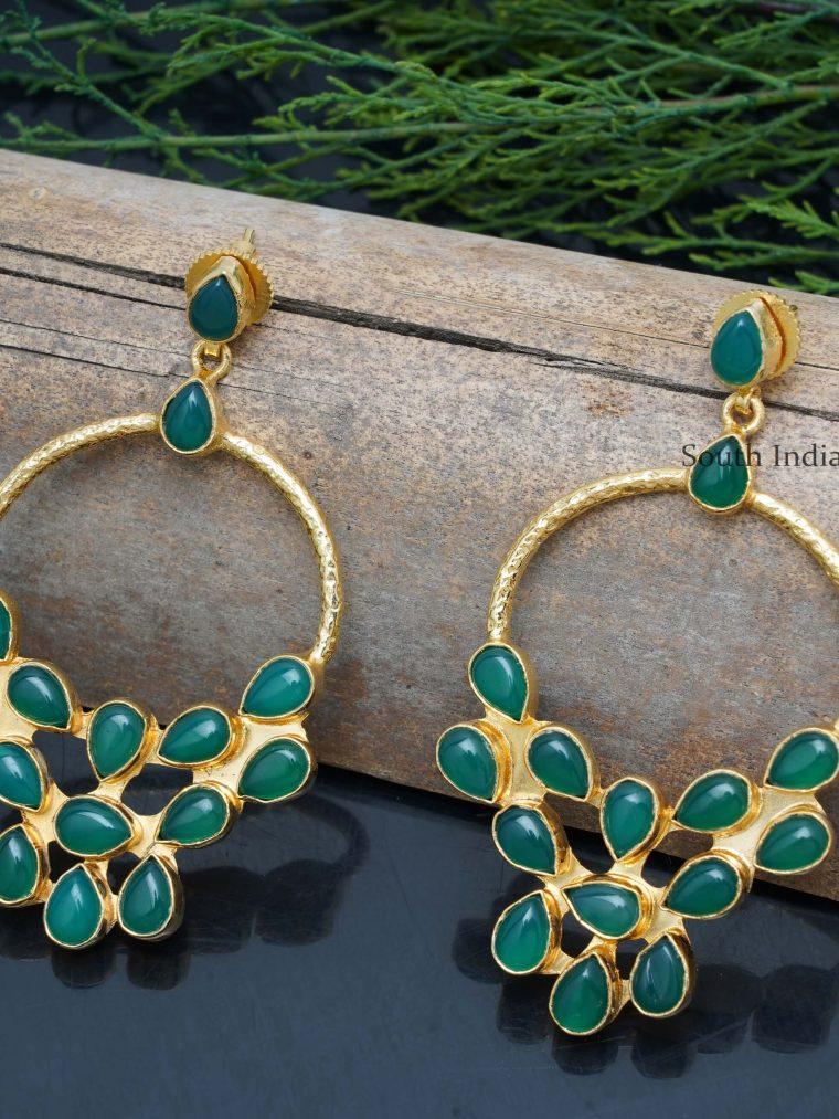 Beautiful Green Chandbali Earrings