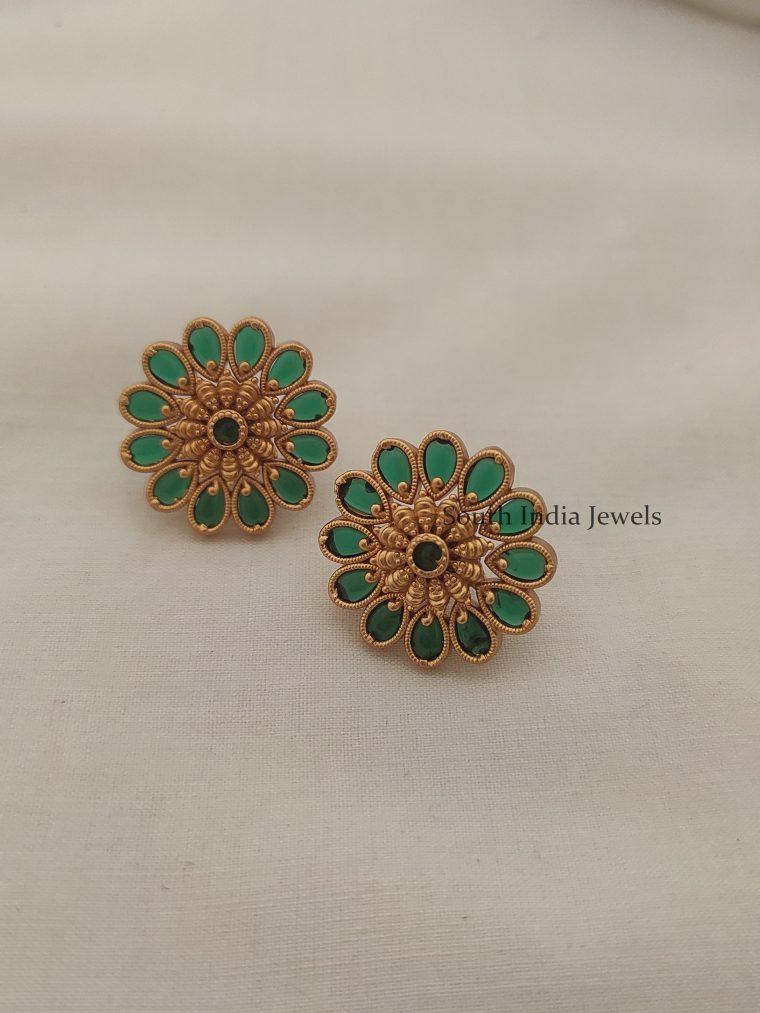 Beautiful Kemp & Green Floral Ear Studs