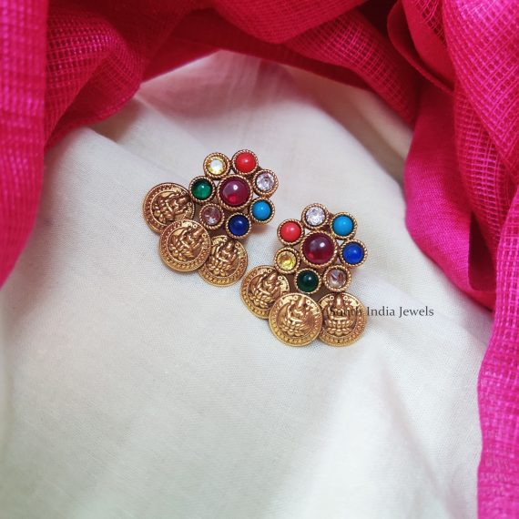 Beautiful multi color stone studded earrings.