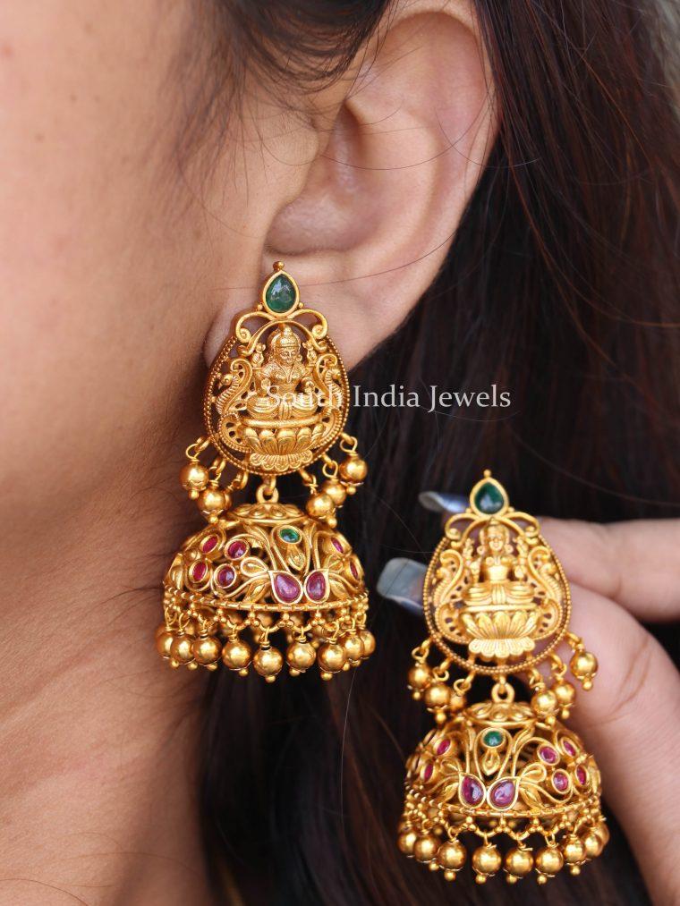 Beautiful Lakshmi Design Jhumkas
