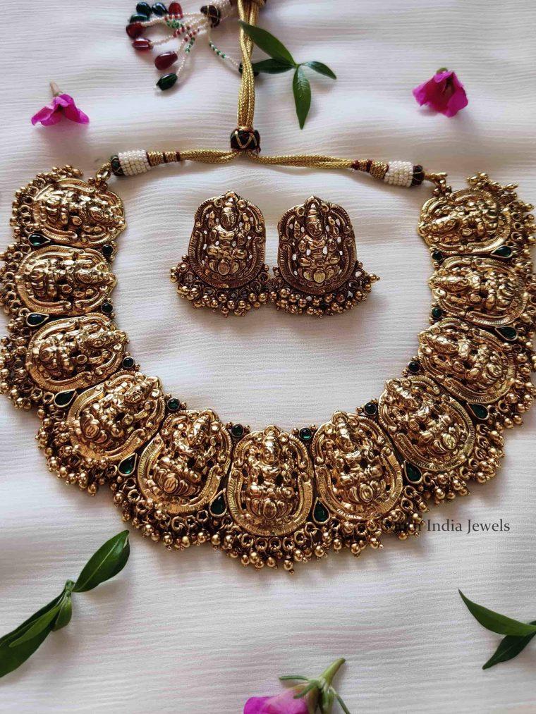 Beautiful-Lakshmi-Golden-Beads-Choker