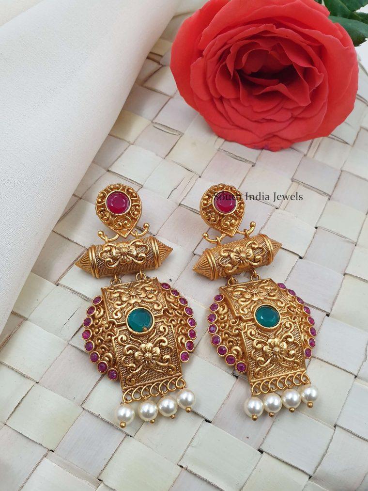 Beautiful Matte Finish Chandbali Earrings