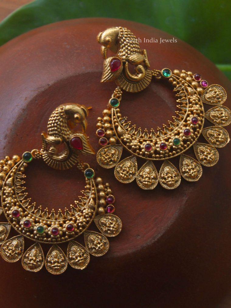 Beautiful Peacock Design Chandbali Earrings