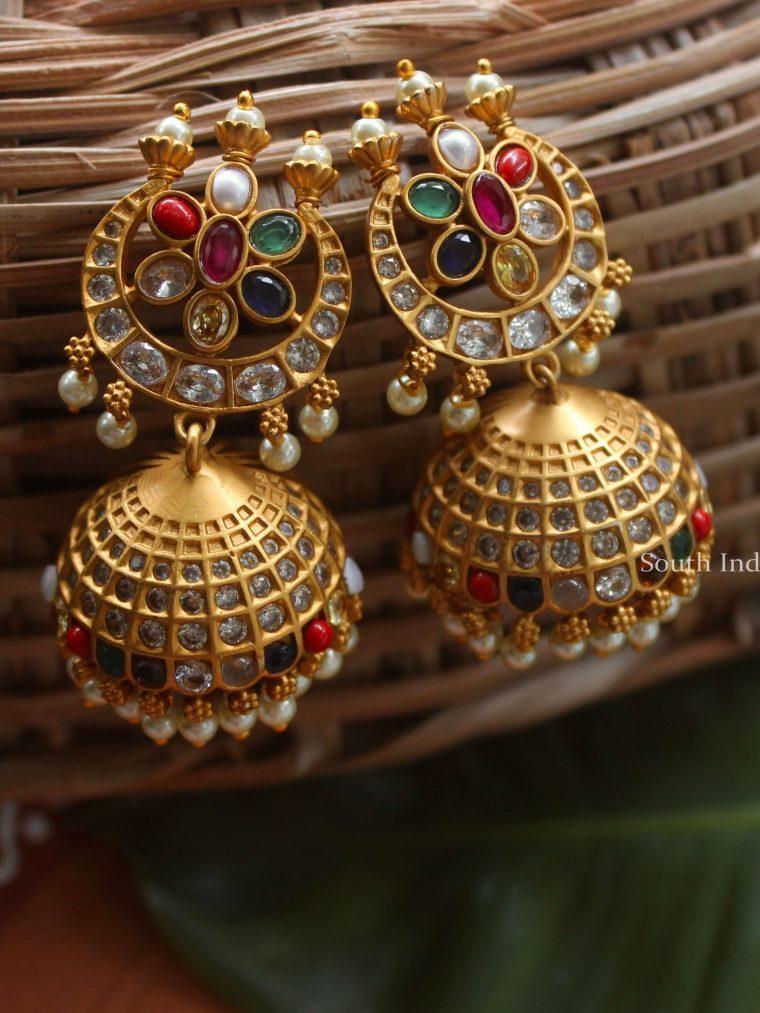 Bridal Chand Design Navaratna Jhumkas