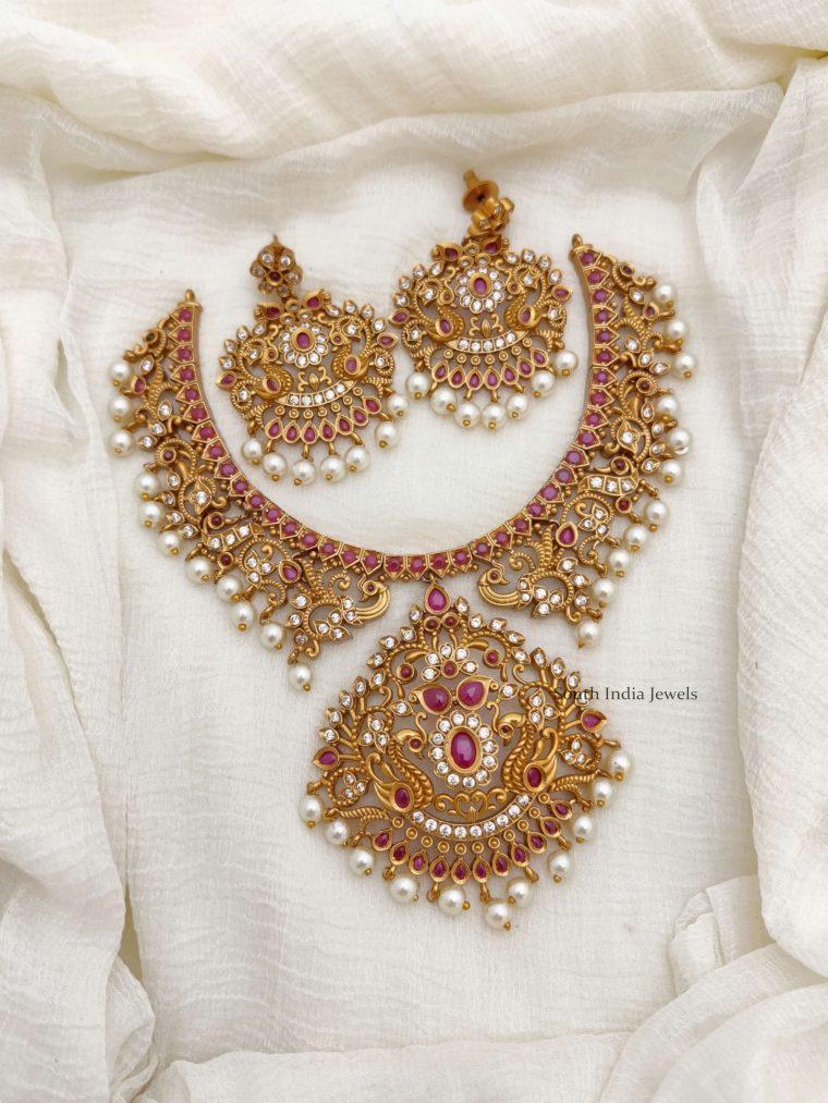 Bridal Peacock Design AD Necklace