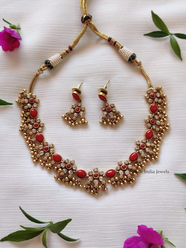 Coral Red AD Ghungroo Necklace