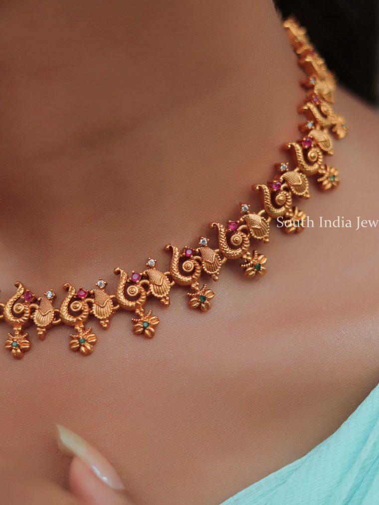 Delicate Peacock Design Necklace