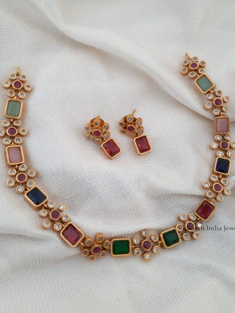 Exquisite Multi Color Stone Necklace